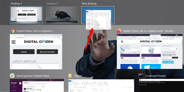 Drag and drop an app window onto the + New desktop button