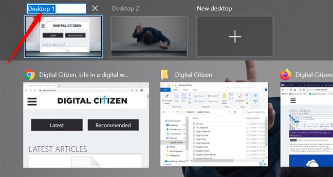 Editing a virtual desktop's name