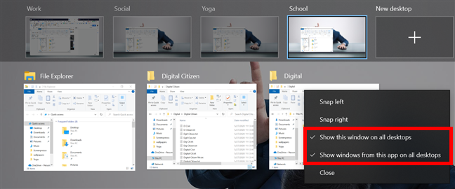 Showing all windows of an app on all desktops automatically enables the option on top