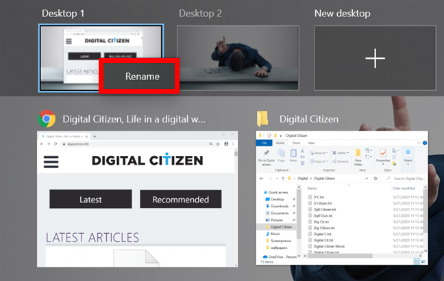 Right-click on a desktop and press Rename