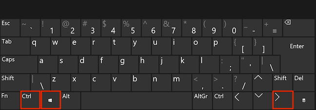 Press the Ctrl, Windows, and Right Arrow keys simultaneously