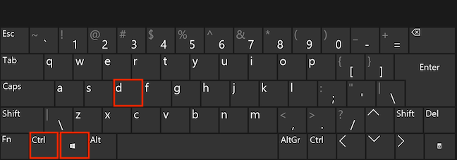 Press the Ctrl, Windows, and D keys simultaneously