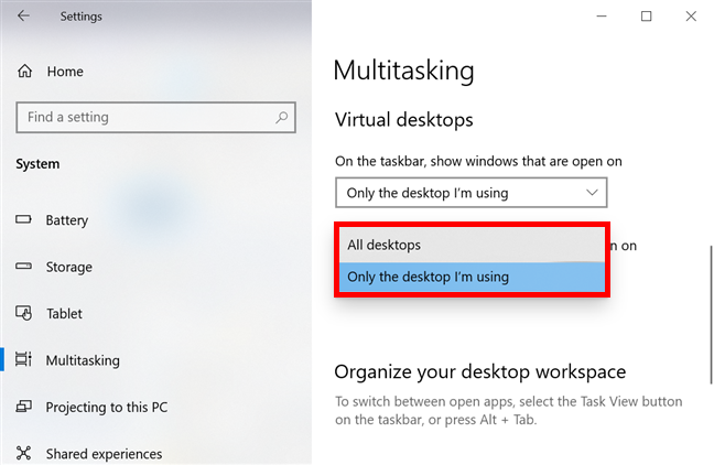 Decide what windows you can access with Alt + Tab