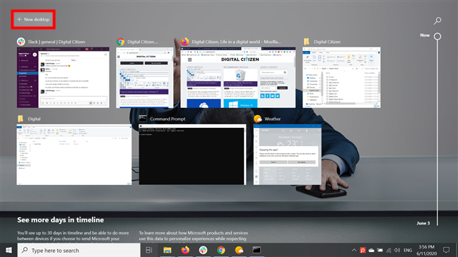 Press + New desktop to start using multiple desktops