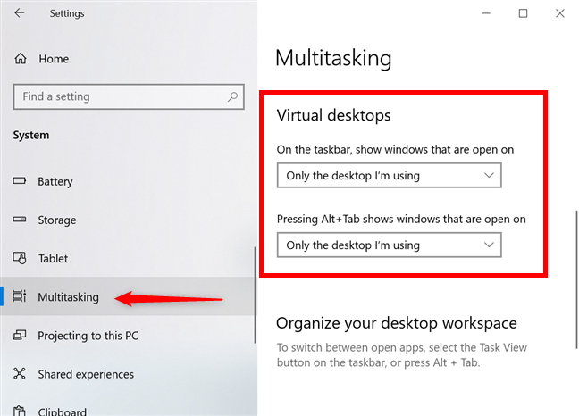 Find Virtual desktops settings in the Multitasking tab
