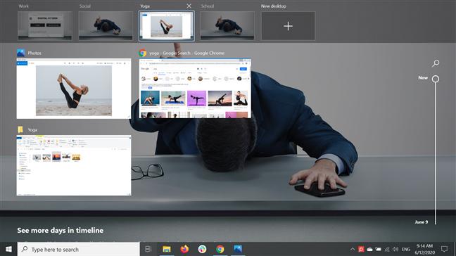 Hovering the cursor over a desktop displays its open apps