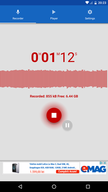 Voice recorder, Android