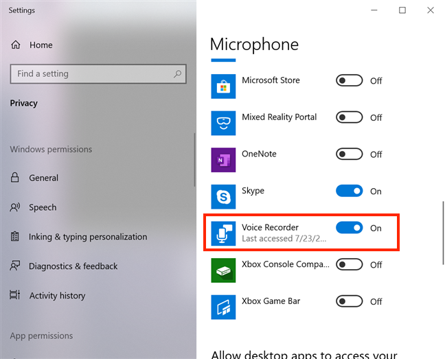 Turn On the switch next to Voice Recorder