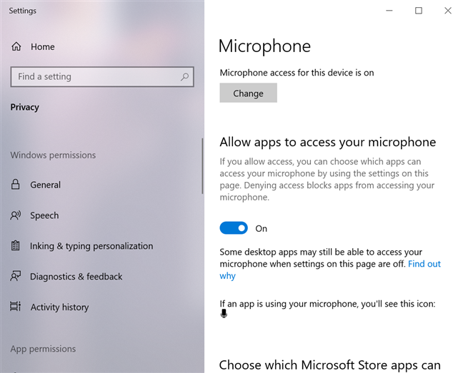 Allow apps to access your microphone