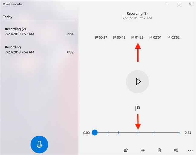 Click on a marker in the recording to jump to that part of the recording