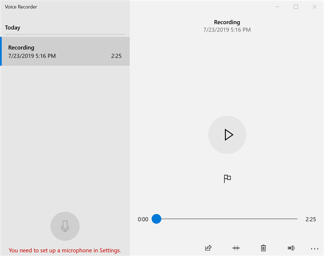 The Voice Recorder lets you know you need to set up a microphone