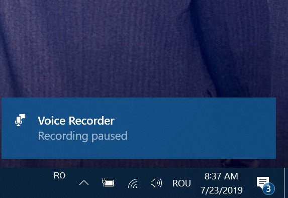 A notification lets you know your recording is paused