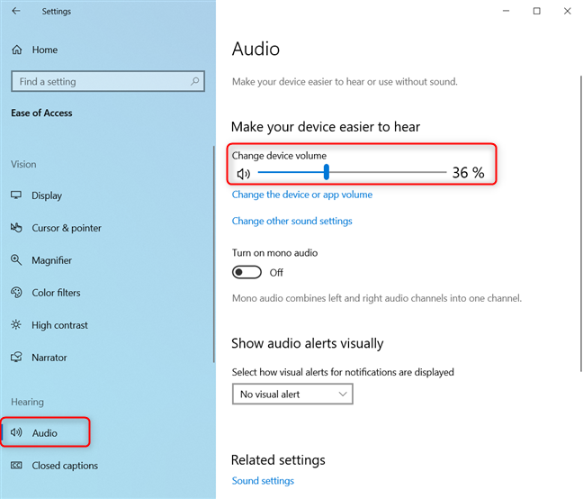 Change device volume in Windows 10