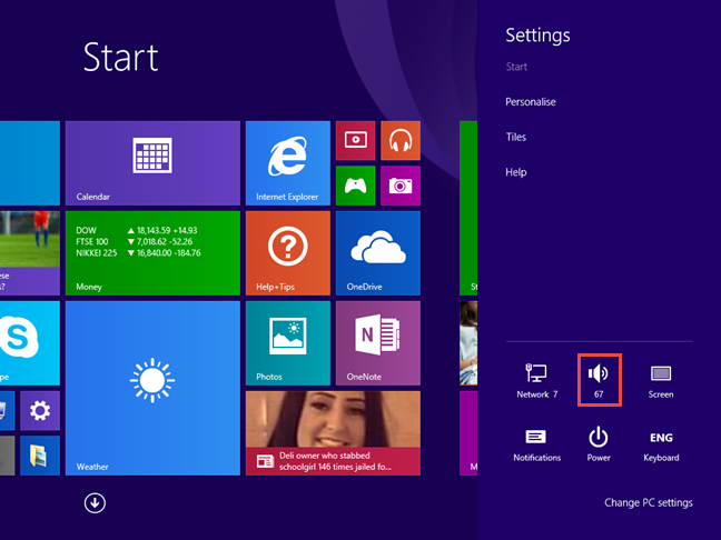 The Speakers shortcut in Windows 8