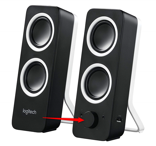 The volume slider on Logitech multimedia speakers