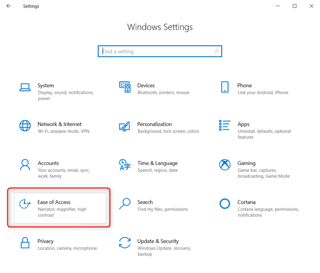 Windows 10 Settings - Go to Ease of Access