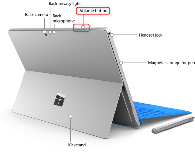 The Volume button on a Surface Pro