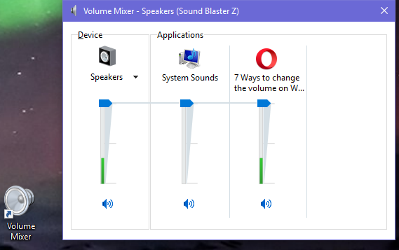 Windows, volume shortcut