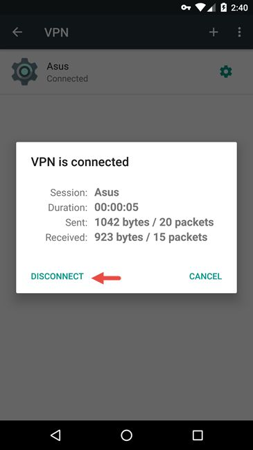 Using a VPN connection in Android