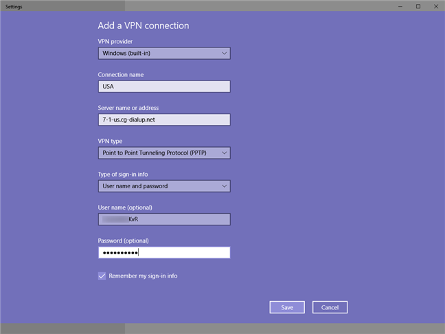 Creating a VPN connection in Windows 10