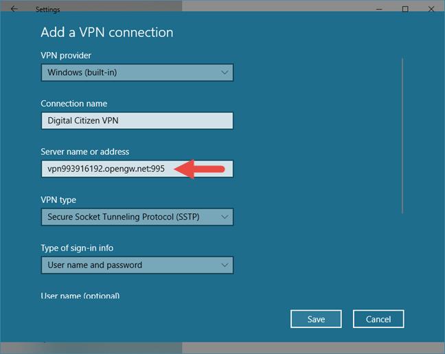 Windows 10, VPN