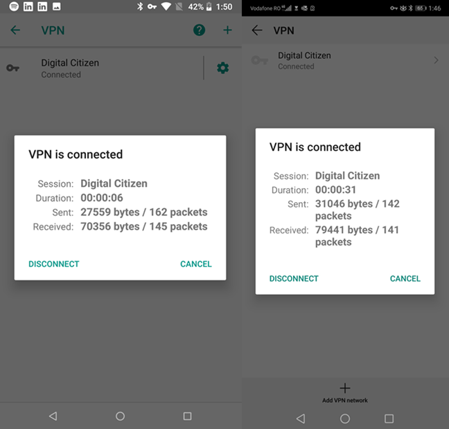 Details about your VPN connection, in Android