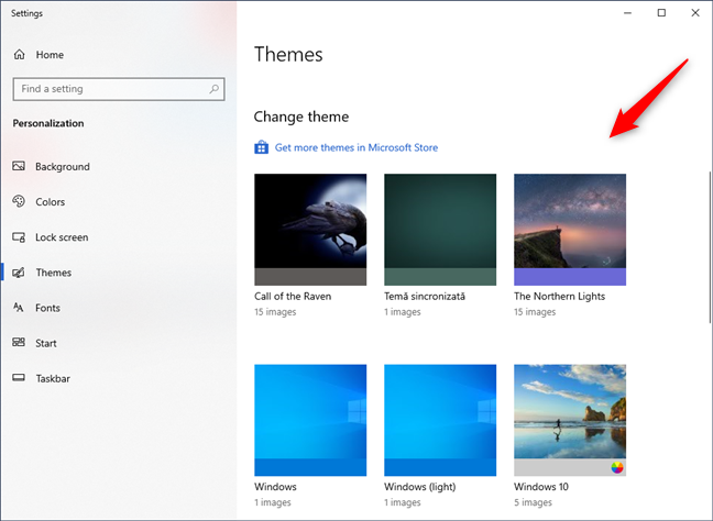 Changing the theme in Windows 10
