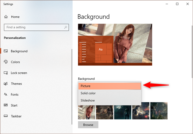 Choosing to use a Picture as the desktop background in Windows 10