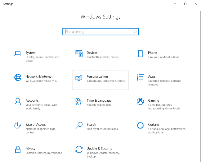 Windows 10 Settings - Go to Personalization