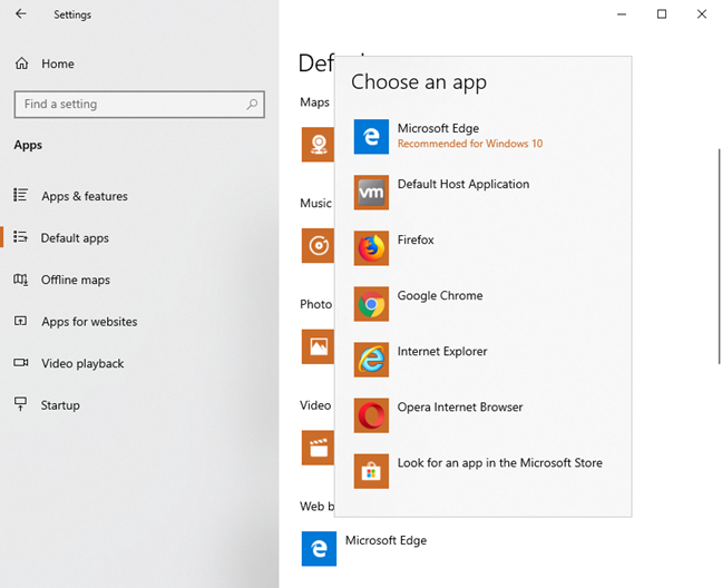 Choose the default web browser in Windows 10