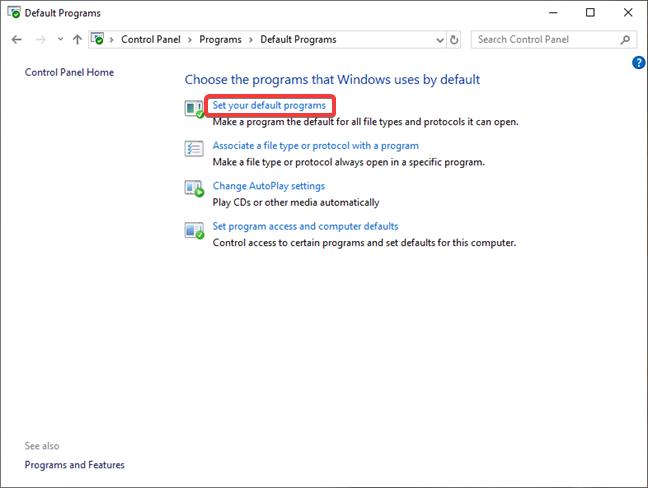 Set your default programs in Control Panel