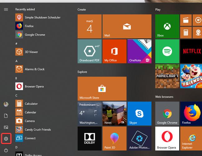 Open Settings from Start Menu in Windows 10