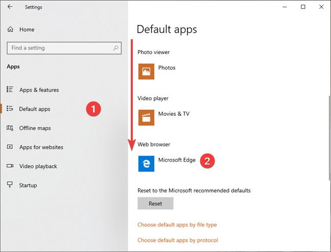Set the default web browser in Windows 10