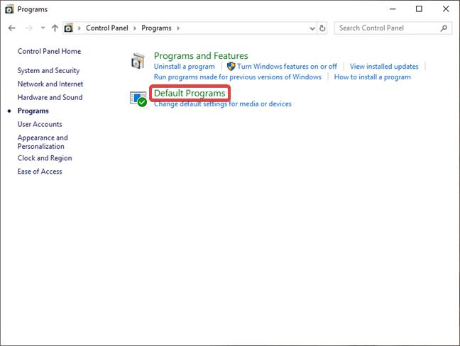Open Default Programs in Control Panel in Windows 10