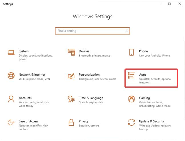 Open Apps in Settings in Windows 10