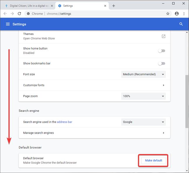 Set Google Chrome as the default browser