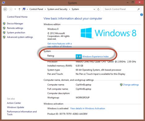 Windows Experience Index, rating, score, Windows 8, Windows 7