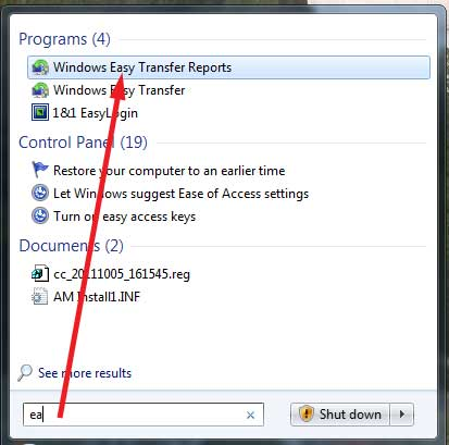 Windows Easy Transfer Reports
