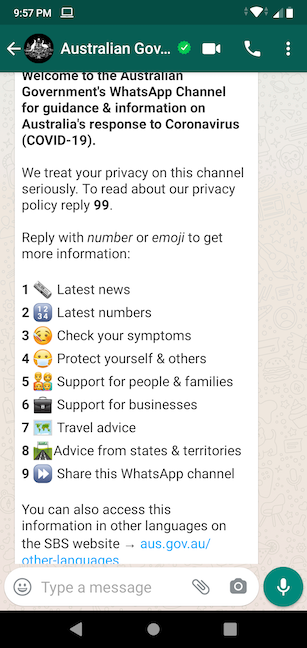 Insert a number to access official info on a certain subject
