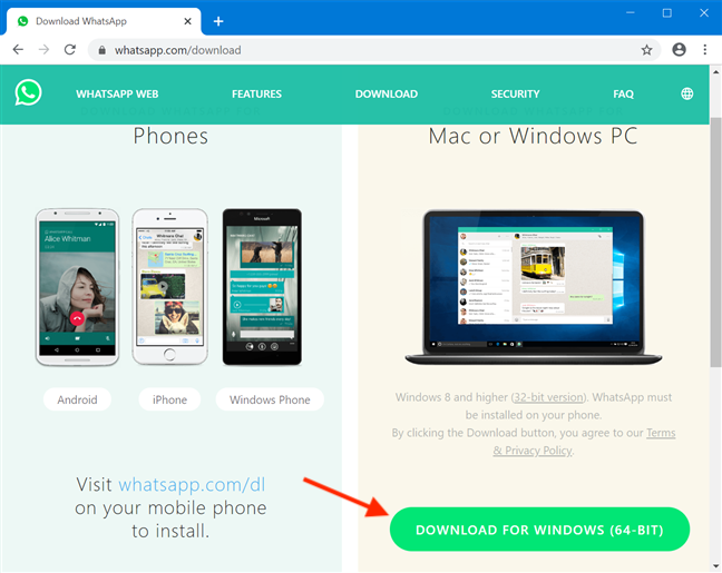 It's easy to get WhatsApp Desktop from its official download page