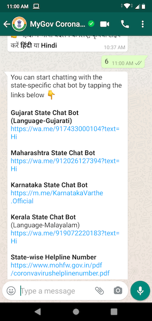 Access a chatbot for your language from MyGov Corona Helpdesk