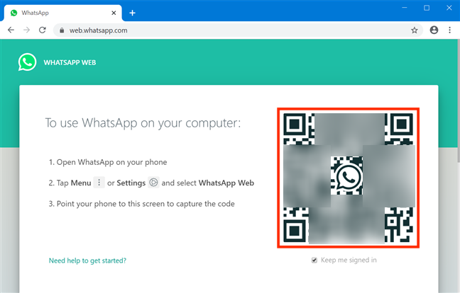 WhatsApp Web displays a QR code