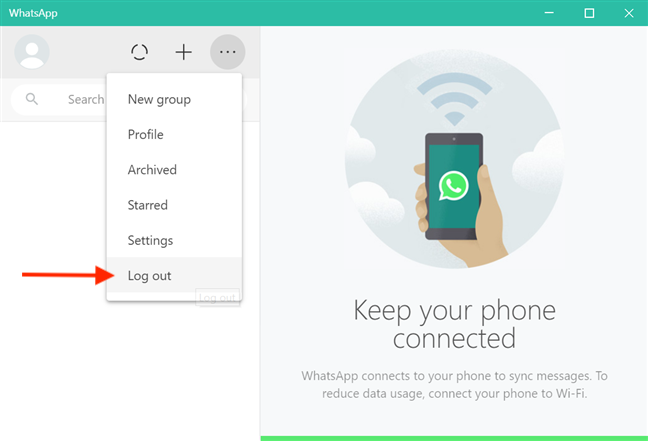 Choose Log out to disconnect your WhatsApp account