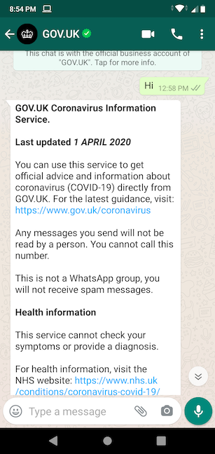 Add GOV.UK to your phone and send Hi