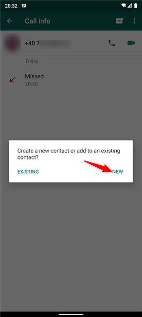 Choose to create a New contact