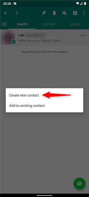 Tap on Create new contact