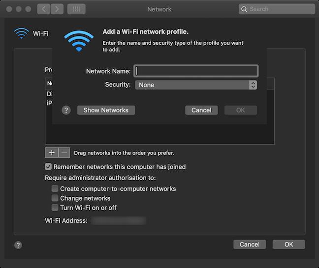 Complete los campos en la ventana Agregar un perfil de red Wi-Fi
