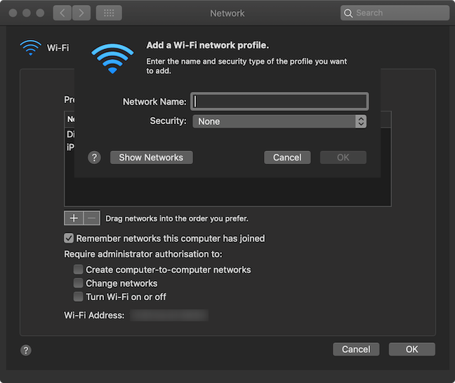 Fill in the fields in the Add a Wi-Fi network profile window