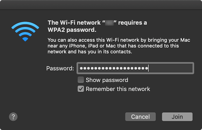 Insert the password and press Join to connect to the chosen Wi-Fi network