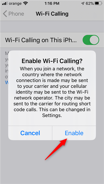 Confirmation for turning on Wi-Fi Calling